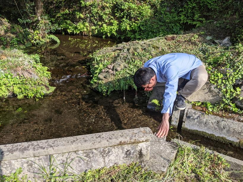 湧水を飲む井田